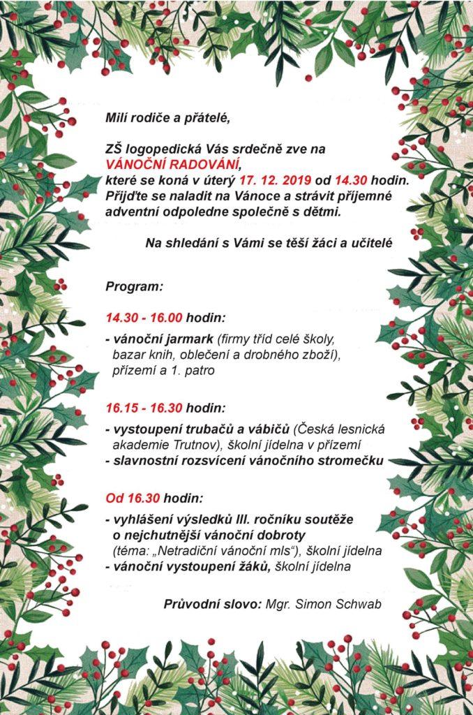 Pozvánka na Vánoční radování 2019